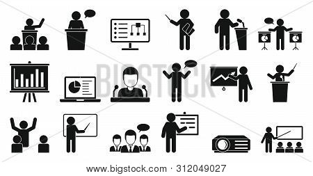 Lecture Icons Set. Simple Set Of Lecture Vector Icons For Web Design On White Background