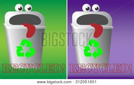 Cartoon Logo Recycling Garbage Bin With Eyes And Tongue Urn