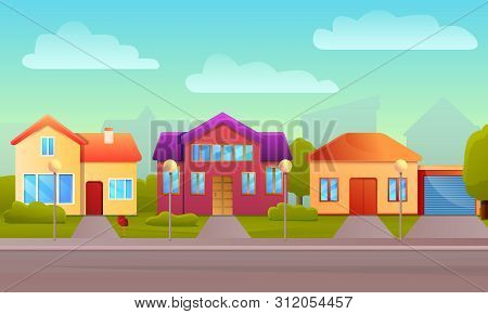 Cottage House Concept Background. Cartoon Illustration Of Cottage House Vector Concept Background Fo