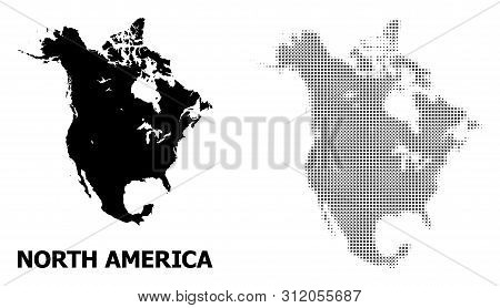 Halftone And Solid Map Of North America Collage Illustration. Vector Map Of North America Compositio