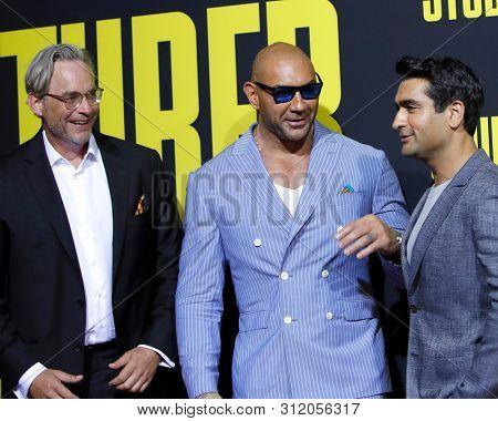 LOS ANGELES - JUL 10:  Michael Dowse, Dave Bautista, Kumail Nanjiani at the