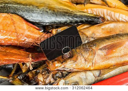 Counter With Smoked Fish In Assortment, Gastronomy Background