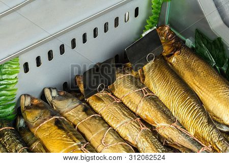 Counter With Smoked Fish In Assortment , Gastronomy Background