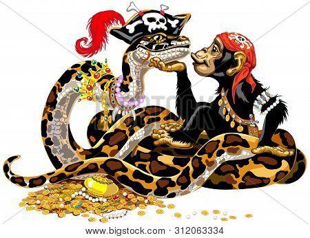 Cartoon Chimpanzee And Big Snake Pirates Near The Treasure. Great Ape Or Chimp Monkey And Python Boa