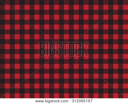 Buffalo Plaid Pattern. Red And Black Squares Seamless Background. Ruby Lumberjack Buffalo Plaid Seam
