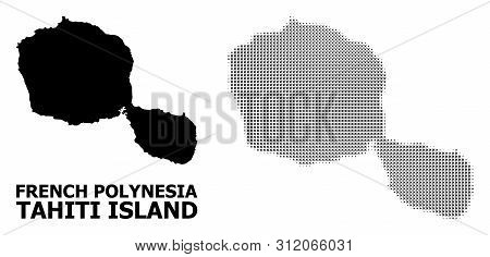 Halftone And Solid Map Of Tahiti Island Composition Illustration. Vector Map Of Tahiti Island Compos