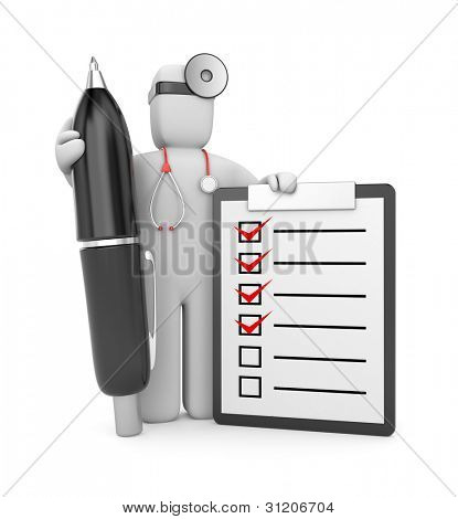 Doctor with clipboard and pen. Image contain clipping path