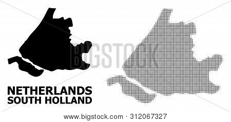 Halftone And Solid Map Of South Holland Composition Illustration. Vector Map Of South Holland Compos
