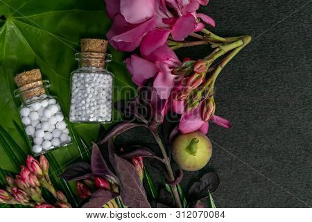 Homeopathic Medicines Consisting Of Globules Bottles, Pink Flowers And Wild Fruit On Green Leaf And