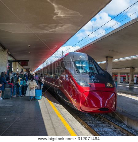 Florence, Italy - May 13,2019: Arrival Of High Speed Train, Santa Maria Novella - Florence Central S