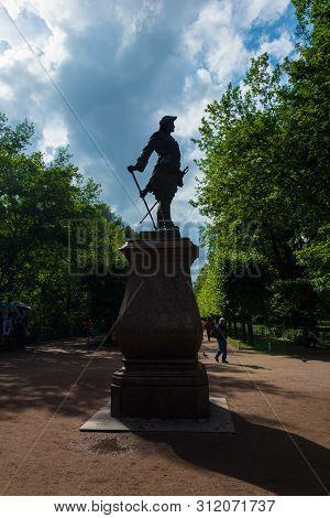 Peterhof, Russia - July 13, 2016: Silhouette Of The Statue Of Peter 1 In Peterhof Lower Garden, The