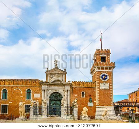Gateway Of Historic Arsenal Of Venice, View Under Cloudy Sky