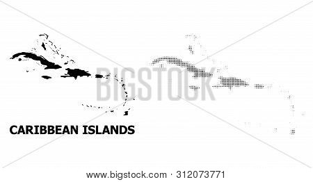 Halftone And Solid Map Of Caribbean Islands Mosaic Illustration. Vector Map Of Caribbean Islands Com