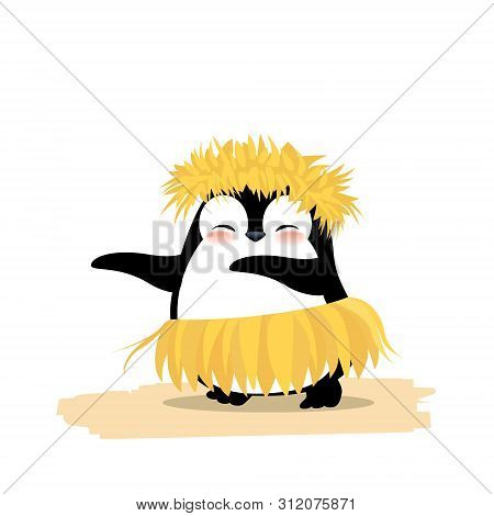 Cute Penguin Dancing Hawaiian Hula In Yellow Grass Wreath And Skirt. Summer Vector Illustration Isol