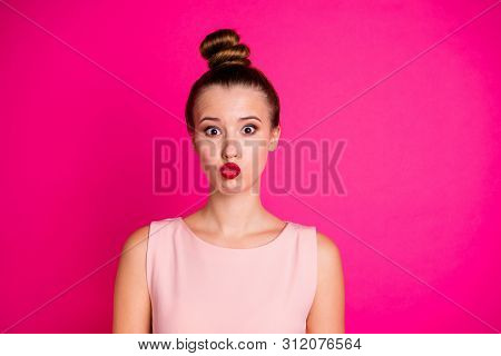 Close-up portrait of her she nice-looking charming winsome attractive fascinating lovable lovely funny girl plump pouted lips isolated over bright vivid shine pink fuchsia background poster