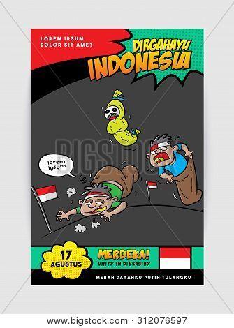 Dirgahayu Indonesia Or Happy Independence Day Celebration, Sack Race Game Cartoon Illustration, Merd