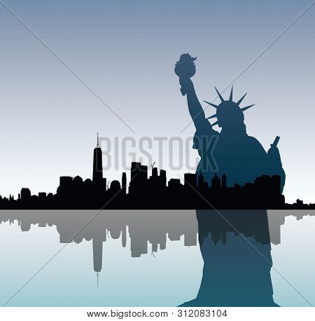 Silhouettes Of Liberty Statue And Manhattah Skyline.