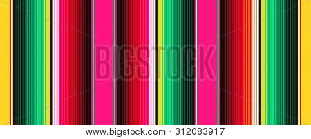 Mexican Blanket Stripes Seamless Vector Pattern. Background For Cinco De Mayo Party Decor Or Mexican
