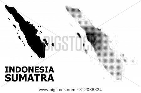 Halftone And Solid Map Of Sumatra Island Composition Illustration. Vector Map Of Sumatra Island Comp