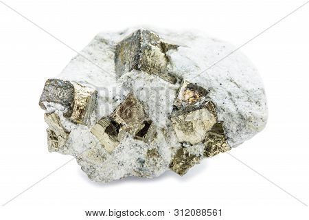 Mineral Pyrite, Or Iron Pyrite, In Matrix, Isolated On Wite Backgrownd