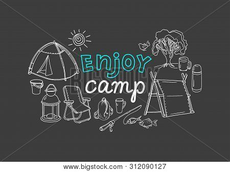 Vector Picnic Design. Camping. Nature, Travel. Art Line Hand Drawn Simple Illustration On Black Back
