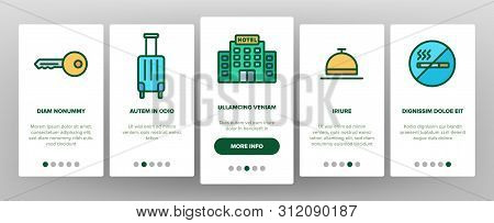 Hotel Accommodation, Room Amenities Vector Onboarding Mobile App Page Screen Hostel Services And Pos