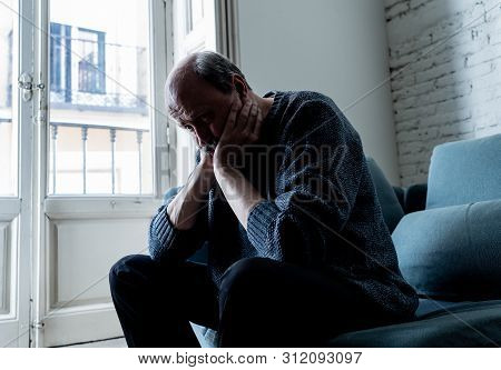 Depressed Overwhelmed Old Man Feeling Exhausted Alone And Unhappy Suffering From Depression