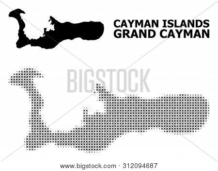Halftone And Solid Map Of Grand Cayman Island Composition Illustration. Vector Map Of Grand Cayman I