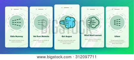 Water, Steam, Liquid Spray Vector Onboarding Mobile App Page Screen. Letting Water, Air Through Pulv