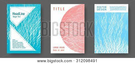 Flyer Poster Vector Graphic Design Set. Blue, Teal And Coral Color Waves Texture. Fluid Buzzing Wavy
