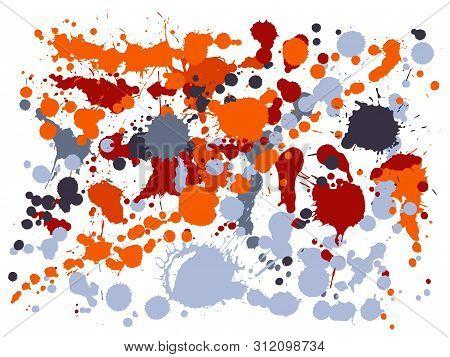 Graffiti Spray Stains Grunge Background Vector. Decorative Ink Splatter, Spray Blots, Mud Spot Eleme