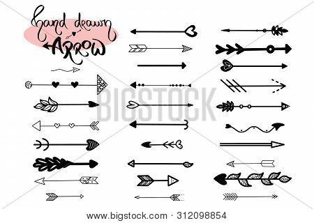 Hand Drawn Arrows Icon Vector On White Background. Arrow Set Illustration. Black Arrowhead Vintage S