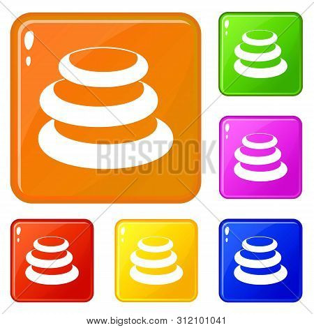 Stack Of Basalt Balancing Stones Icons Set Collection Vector 6 Color Isolated On White Background