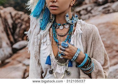 Close Up Of Young Woman With Lot Of Boho Accessories Outdoors