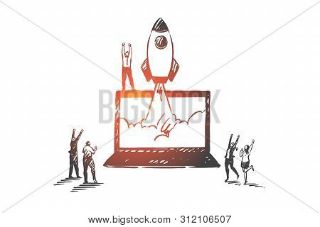 Startup, Success, Teamwork, Coworking, Partnership Concept Sketch. Happy Business People Looking At