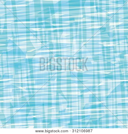 Abstract Blue And White Painterly Canvas Or Water Effect Texture. Seamless Vector Grid Pattern With