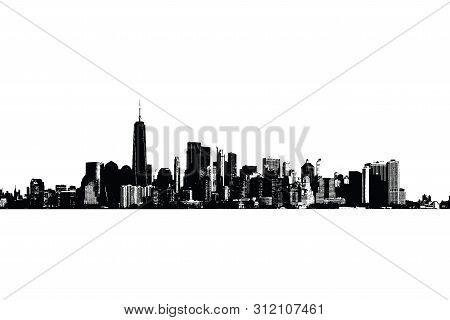Silhouette Of Manhattah Skyline In Black And White.