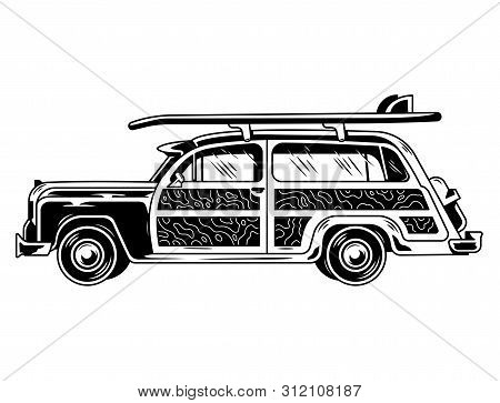 Vintage Graphic Old School Car For Freedom Traveling On Beach Surfing Style Life Camping Outside Ret