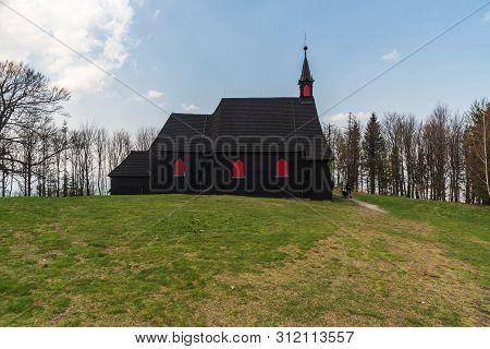 Kostel Sv. Antonina Paduanskeho Wooden Church On Mala Prasiva Hill In Moravskoslezske Beskydy Mounta