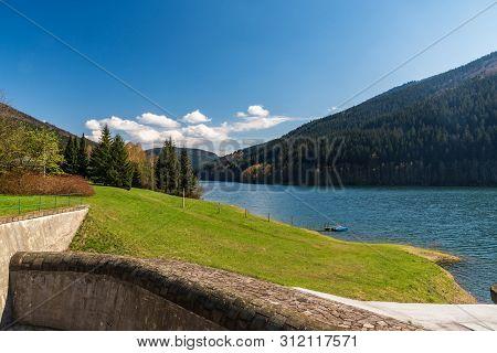 Moravka Water Reservoir On Moravka River Above Moravka Village In Moravskoslezske Beskydy Mountains
