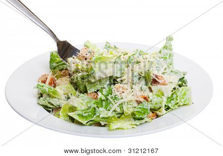 Healthy caesar salad isolated on white