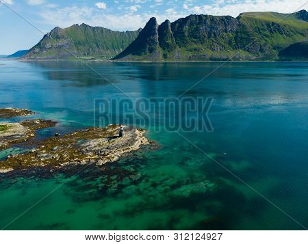 Seascape On Lofoten Islands With Gimsoysand Lighthouse, Gimsoya Island, Nordland County Norway.