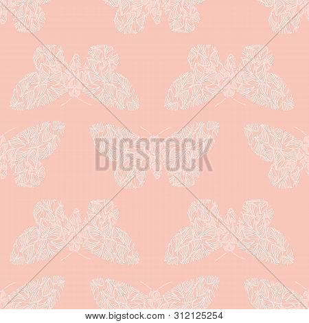 Delicate Stencil Style White Butterflies Made From Wing Shapes. Seamless Geometric Vector Pattern On
