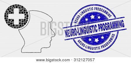 Pixelated Head Medicine Mosaic Icon And Neuro-linguistic Programming Seal Stamp. Blue Vector Round S