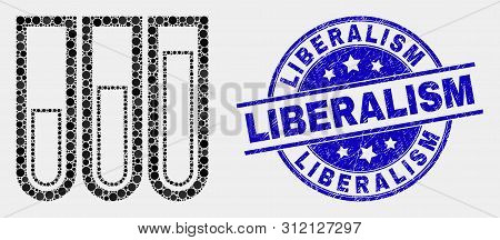 Pixelated Test-tubes Mosaic Pictogram And Liberalism Seal Stamp. Blue Vector Rounded Textured Seal S