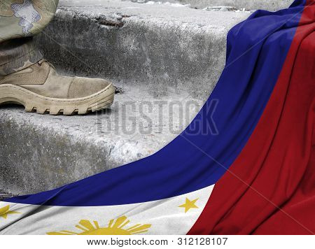 Military Concept On The Background Of The Flag Of Philippines