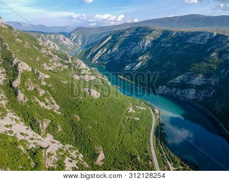 Aerial View Of The Valley Of River Neretva In Bosnia And Herzeovina