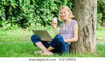 Modern Woman Student Study Online Outdoor. Student Prepare For Exams. Students Life. Pretty Woman. O
