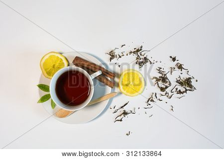 Black Tea With Lemon And Cinnamon.