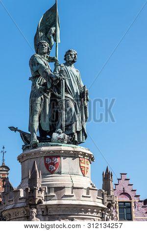 Bruges, Flanders, Belgium -  June 17, 2019: Closeup Of Green Bronze Statue Of Jan Breydel And Pieter